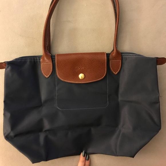 Longchamp Le Pliage Medium Long Handle Blue Nylon